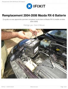 Remplacement 2004-2008 Mazda RX-8 Batterie