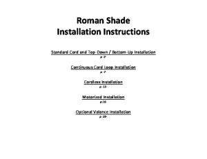 Roman Shade Installation Instructions - Blinds