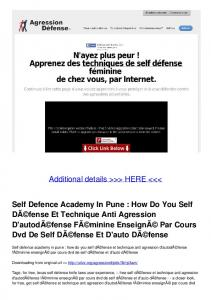 Self Defence Academy In Pune : How Do You Self DÃ