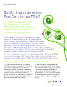 Solution Heures de service Fleet Complete de TELUS