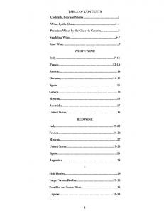 TABLE OF CONTENTS Cocktails, Beer and Sherry ... - BinWise