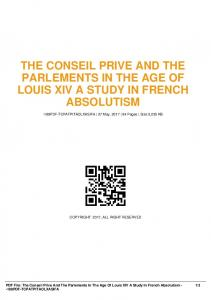 the conseil prive and the parlements in the age of louis xiv a study in