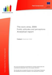 The euro area, 2009 Analytical report - European Commission