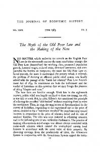 The Myth of the Old Poor Law and the Making of the New