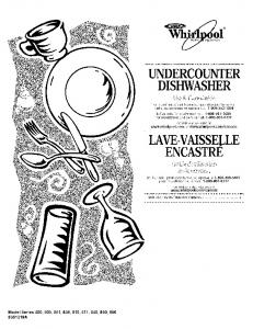 undercounter dishwasher lave-vaisselle encastre - Sears Parts Direct