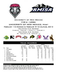 University of New Mexico FIS-U / USSA UNIVERSITY OF NEW ...