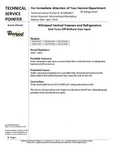 W10854827 - Whirlpool Vertial Freezers and ... - ApplianceJunk.com