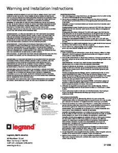 Warning and Installation Instructions - Legrand