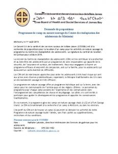 YHS Mistissini Camp Call for Proposals_FR-CA - Cree Health